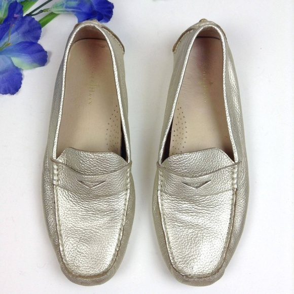 526a1a7bcbc Cole Haan Shoes - Cole Haan Metallic Gold Trillby Driver Loafers